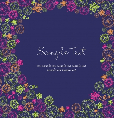 Bright floral template for design with place for your text and ornamental colorful pattern Stock Vector - 16803663