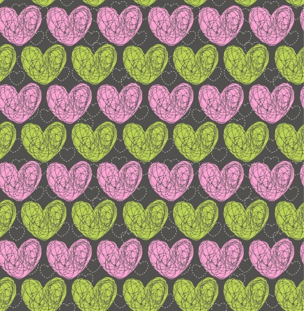 Bright heart seamless texture  Endless pattern with rose and green decorative scribble hearts  Template for design and decoration wrapping paper, covers, textile, package, backgrounds Stock Vector - 16803664
