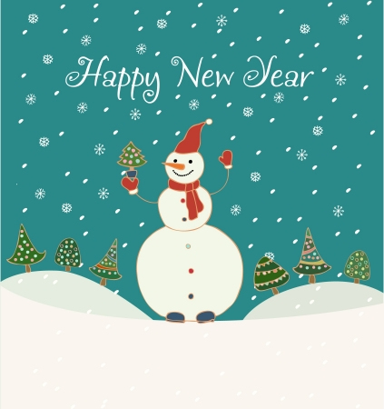 Hand drawn background with snowman, decorated fir trees, snowflakes and sample text  Template for design and decoration  Stock Vector - 16944281