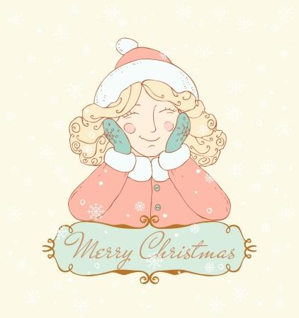 夢見る少女と、テキスト テンプレートの背景にテキスト フレームのための場所とデザインと装飾のクリスマス画像を笑顔のイラスト