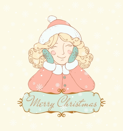 Illustration of smiling dreaming girl and place for your text  Template background with text frame and Christmas image for design and decoration  Vector