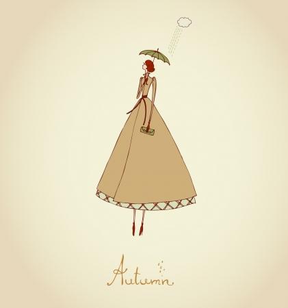 手描き下ろしイラストと女の子イラスト セット 4 つの季節秋のイメージとテキスト テンプレートの配置