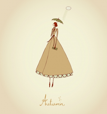 Hand drawn illustration and place for your text  Template with image of girl  Illustration set Four Seasons  Autumn  Vector