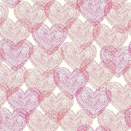 Seamless romantic pattern with linear decorative hearts  Template for design and decoration Stock Vector - 16944291