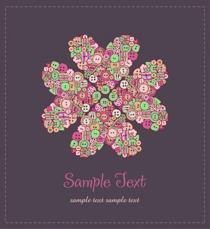 Кнопки: Иллюстрированный цветочный фон текста Иллюстрация цветок с кнопками и образец текста шаблона для дизайна поздравительной открытки, обложки, упаковки, скрапбукинга Иллюстрация