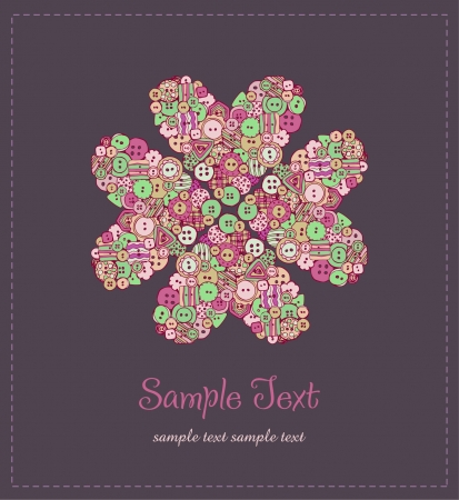 Illustrated floral text background  Illustration of flower with buttons and sample text  Template for design greeting card, cover, package, scrapbooking  Vector