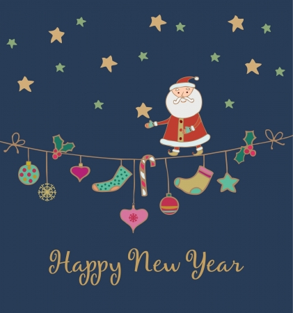 New Year s greeting card with hand drawn illustration  Template foe design  Festive background with place foe your text