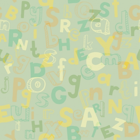 Alphabet seamless texture with different scribble letters  Template for design and decoration Stock Vector - 17272510