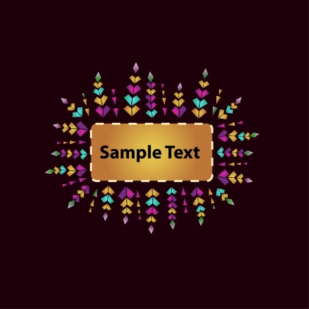 Design template with ornamental text frame  Colorful floral decorative ornament and place for your text  Vector