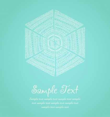 Illustrated design template with sample text  Decorative background with ornamental hand drawn stylized snowflake Stock Vector - 17272586