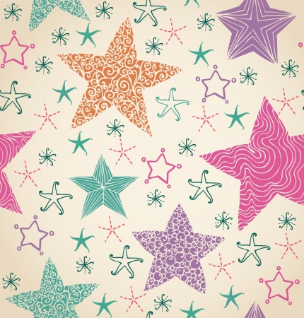 Seamless ornamental decorative texture with stars  Endless star hand drawn pattern  Template for design and decoration textile, package, wrapping paper, backgrounds  Vector