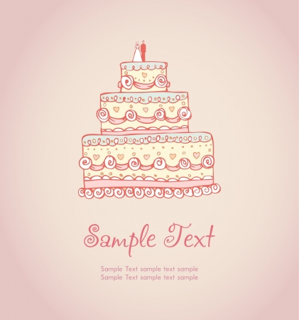 Hand drawn illustration and place for your text  Template with image of colorful romantic wedding cake
