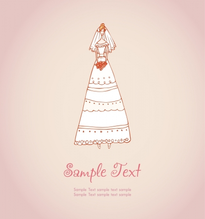 Hand drawn illustration and place for your text  Template with image of bride in wedding dress  Vector