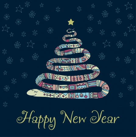 Hand drawn illustration of ornamental snake and sample text  Design template for New Year s Greeting Vector