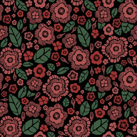 Retro endless floral pattern  Seamless texture with decorative stylized flowers and leaves  Template for design and decoration textile  Vector