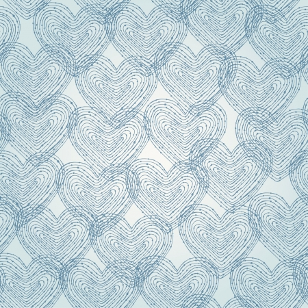 Neutral seamless texture with blue linear decorative hearts  Pattern for design and decoration  Vector
