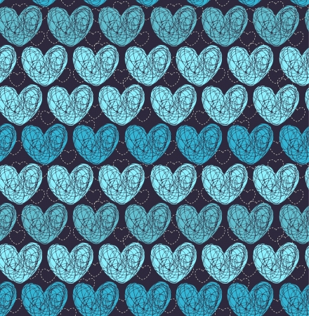 Seamless blue pattern with doodle hearts  Endless decorative romantic texture Stock Vector - 17272580