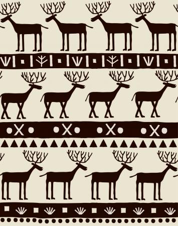 シームレスな装飾的な装飾用鹿とテクスチャのデザインと装飾織物, 背景, 包装紙の幾何学的パターン テンプレート