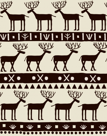 deers: Seamless decorative ornamental texture with deers and geometric pattern  Template for design and decoration textile, backgrounds, wrapping paper  Illustration