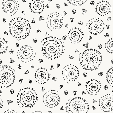 Abstract geometrical neutral seamless pattern with ornamental spiral elements  Endless doodle grey texture  Template for design and decoration  Stock Vector - 18030809