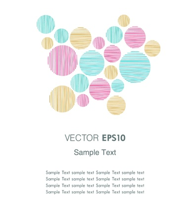 birthday border: Abstract text background with linear colorful circle decorative composition  Design template with place for your text and decorative round elements  Illustration
