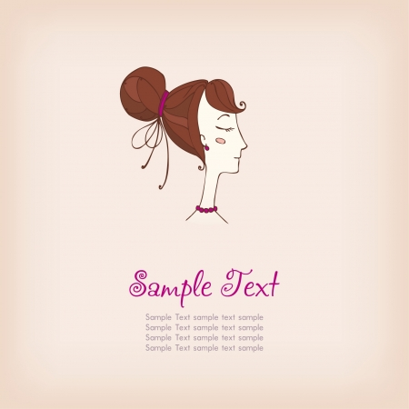 Illustration of fashionable stylized girl with sample text, can be used as template for design and decoration greeting card, scrapbooking etc Stock Vector - 18030803
