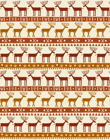 horny: Decorative hand drawn cartoon pattern with deers and geometric ornament  Endless red natural texture  Template for design and decoration
