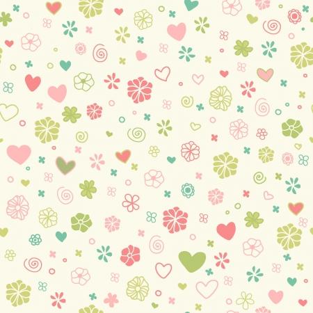 手描きの心、花やスパイラル テンプレート デザインおよび装飾用の装飾的なロマンチックなシームレスな落書きテクスチャ無限幼稚なパターン