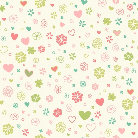 Decorative romantic seamless doodle texture  Endless childish pattern with hand drawn hearts, flowers and spirals  Template for design and decoration  Vector