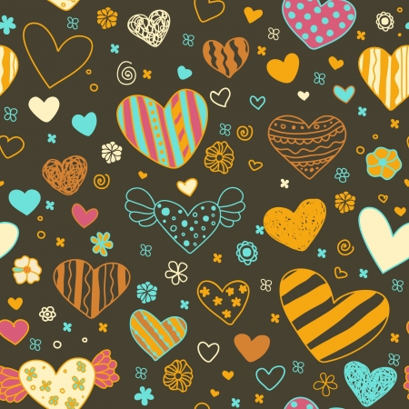 Hand drawn romantic seamless texture with hearts  Endless bright pattern for design and decoration