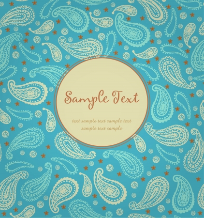 edit valentine: Ornamental cover design with round text frame and floral pattern  Template with ethnic indian texture  Illustration