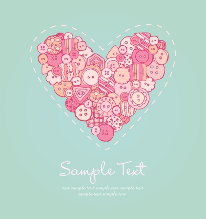 bead embroidery: Romantic background with illustration of heart with buttons  Template for design greeting cards and invitation with place for your text