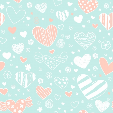 Romantic seamless blue pattern with decorative hearts, flowers and spiral elements  Template for design wrapping paper, package, backgrounds, textile  Vector