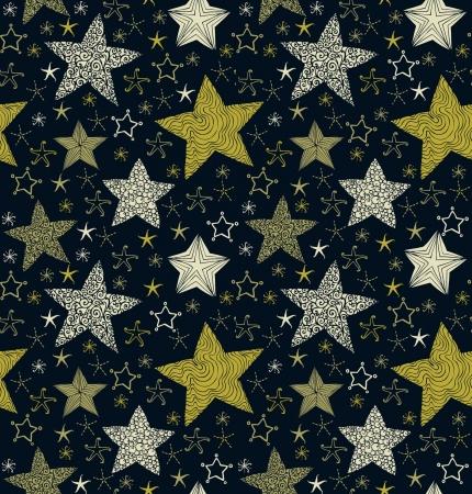 シームレスな装飾的な華やかなパターン包装紙パッケージ、背景のデザインと装飾織物のためのテンプレートを星します。  イラスト・ベクター素材