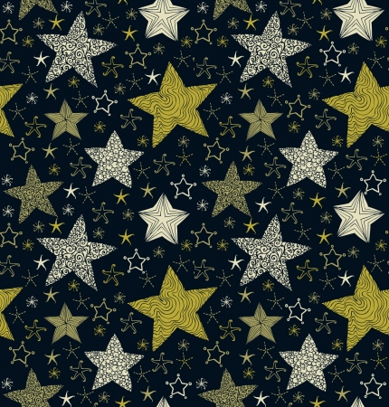 Seamless decorative ornate pattern with stars  Template for design and decoration textile, backgrounds, package, wrapping paper  Vector