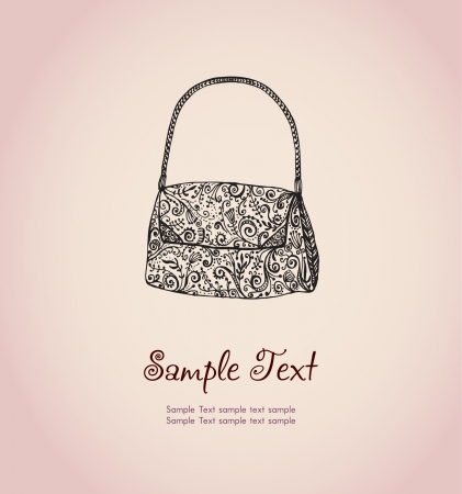 woman s bag: Text background with illustration of ornamental woman s bag  Template for design and decoration greeting cards, invitations, scrapbooking Illustration