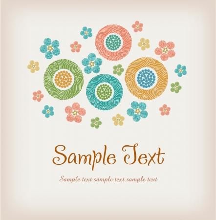 plaited: Ilustrado de fondo de texto con el manojo ornamental estilizado de flores plantilla de dise�o floral para las tarjetas de felicitaci�n con el lugar para su texto