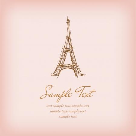 エッフェル塔とサンプル テキスト テキストのための場所で説明されたロマンチックなフランス背景のスケッチ図のテンプレート