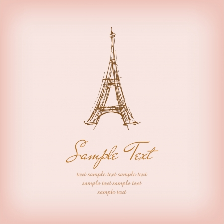 romantic getaway: Template with sketchy illustration of Eiffel Tower and sample text  Illustrated romantic french background with place for your text  Illustration