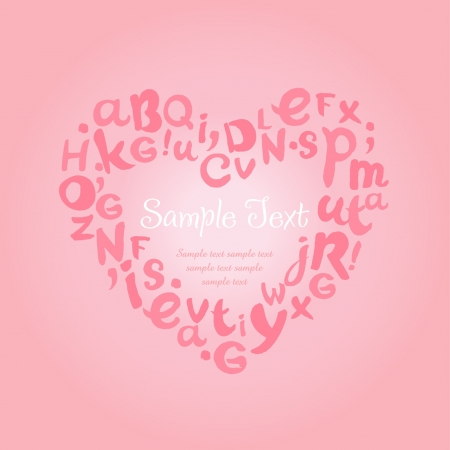 Decorative background with typographic hand written frame for text  Template for design greeting cards, invitation with rose cute heart with letters Stock Vector - 18089008
