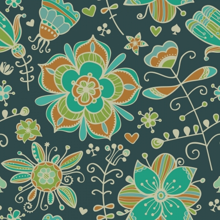 Decorative seamless pattern with flowers  Endless ornate floral texture  Template for design textile, packages, backgrounds, wrapping paper etc  Stock Vector - 18089084
