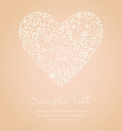 Lace illustration of heart and sample text  Template for design romantic greeting card, wedding invitation with ornamental heart  Vector