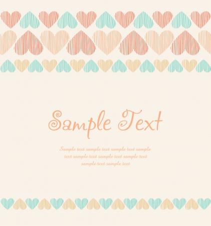 plaited: Fondo rom�ntico de corazones ornamental lineales y lugar para su texto Plantilla para la tarjeta de felicitaci�n