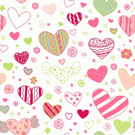 Seamless doodle ornate pattern with ornamental hearts and flowers  Endless cute colorful texture, template for design textile, wrapping paper, package, backgrounds  Vector