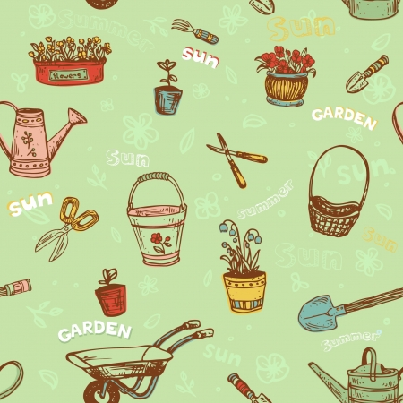 Seamless decorative hand drawn pattern with garden tools  Endless cartoon texture, template for design textile, wrapping paper, packages, backgrounds
