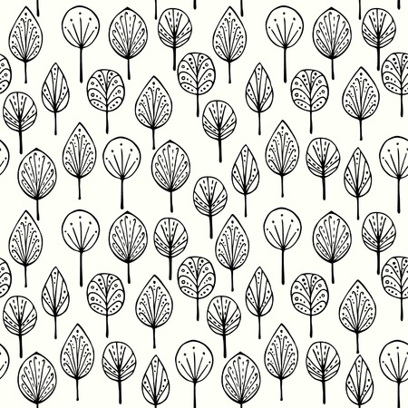 Seamless linear texture with ornamental leaves  Endless hand drawn black and white pattern  Template for design textile, backgrounds, packages, wrapping paper