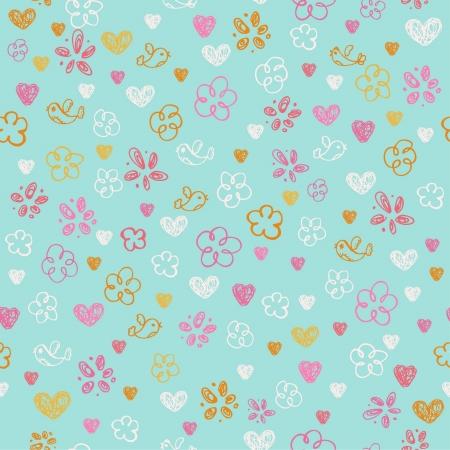 心、花や鳥無限幼稚な質感とテンプレートのデザインと装飾のためのシームレスな手描き下ろし落書きパターン  イラスト・ベクター素材