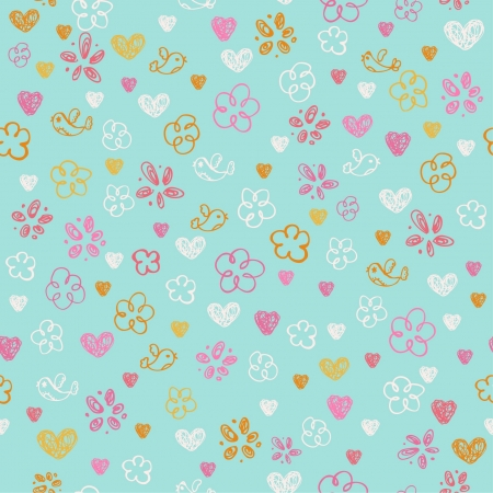 Seamless hand drawn doodle pattern with hearts, flowers and birds  Endless childish texture  Template for design and decoration