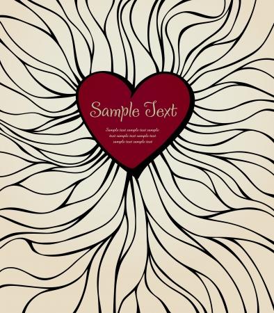 テンプレート デザインのカバー、パッケージ、グリーティング カード、手で心装飾用の装飾用の背景、テキストのための場所で描かれた線形実例