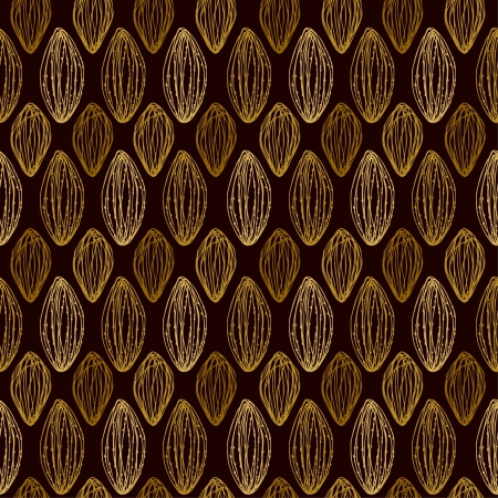 brazil nut: Seamless decorative linear golden texture with abstract doodle shapes  Endless texture for design wrapping paper, covers, textile, backgrounds, package, wrappers Illustration